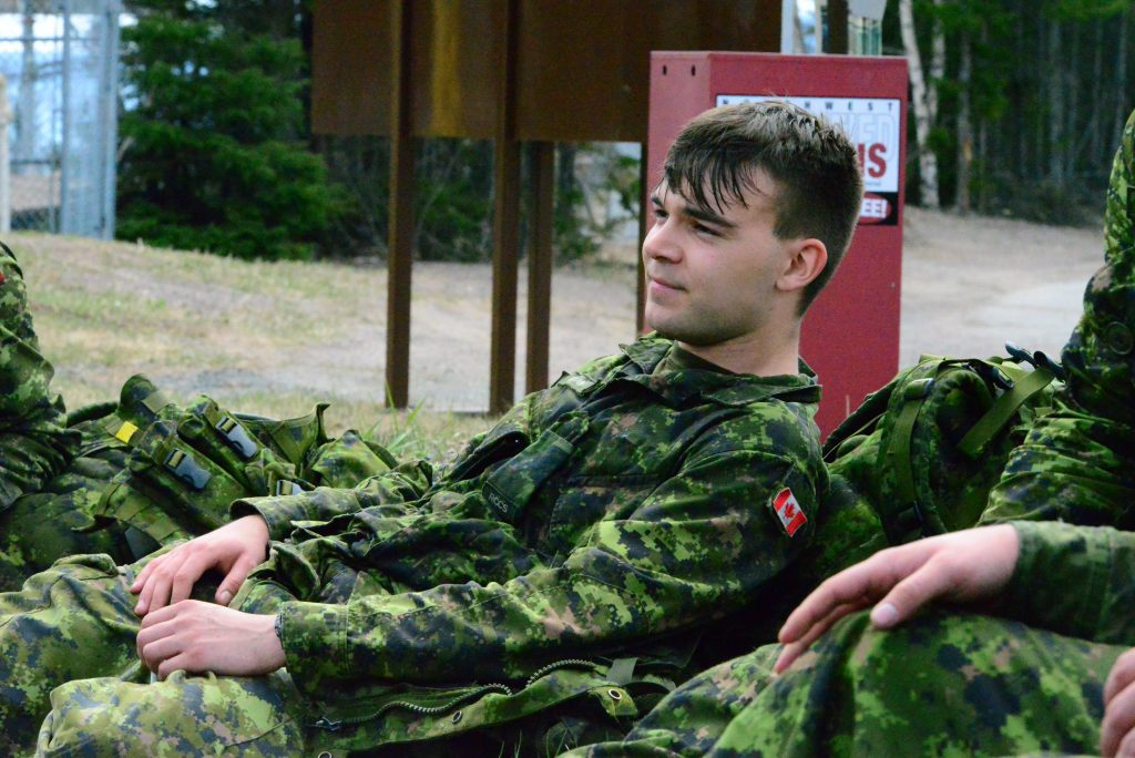 Soldier resting after march